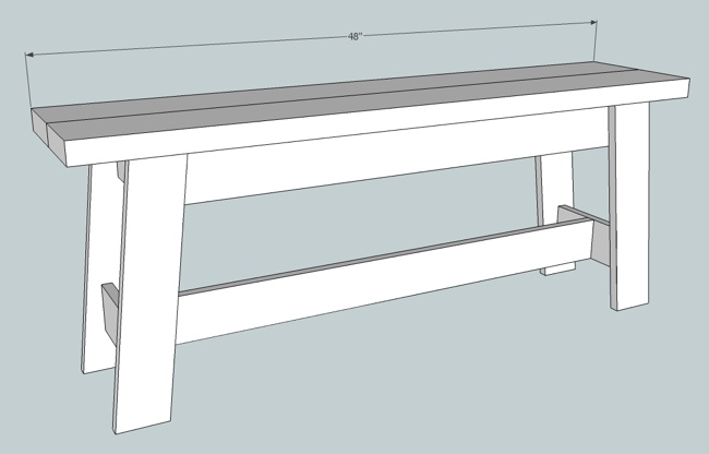 Diagram of completed bench
